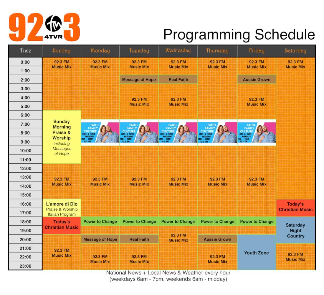 92.3 FM Programming Schedule